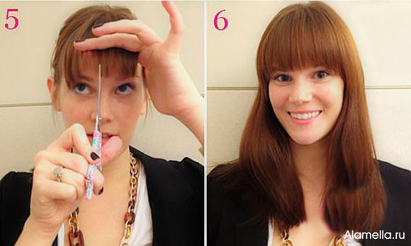 Как самой сделать себе челку на длинные волосы